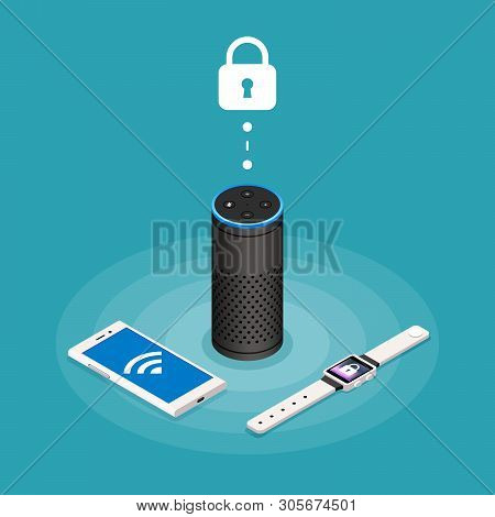 Security Internet Of Things Isometric Composition On Turquoise Background With Assistant Speaker, Sm