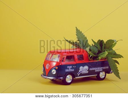 Kiev Ukraine - May 29, 2019. Toy Model Of Volkswagen Type 2, T1, Pickup 2 With Cannabis Leafs On The
