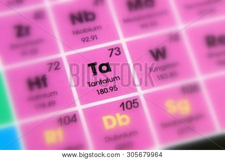 Chemical Element Tantalum With The Symbol Ta And Atomic Number 73.