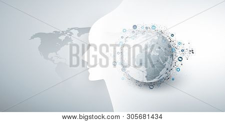 Modern Style Futuristic Machine Learning, Artificial Intelligence, Cloud Computing And Iot Networks