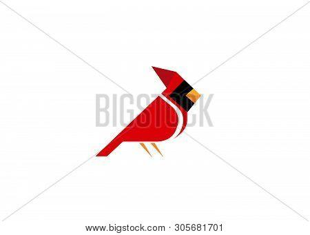 Creative Red Cardinal Logo Design Vector Symbol Illustration