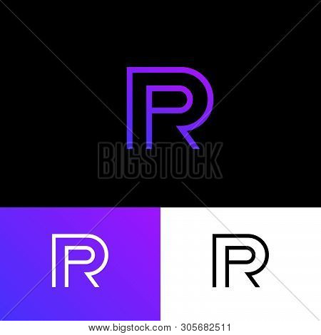P And R Monogram. P, R Logo. Linear Monogram On  A Different Background. Abstract Emblem.