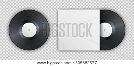 Realistic Vintage Vinyl Record With Blank Cover Isolated On Transparent Background. Mock Up Template