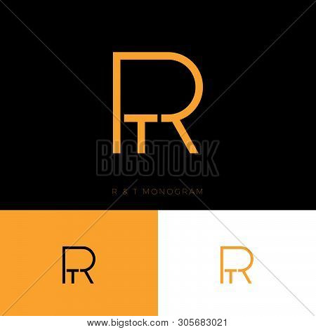 R And T Monogram. R,t Logo. Linear Monogram On  A Different Backgrounds. Abstract Emblem.