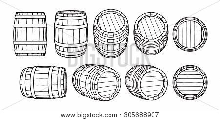 Set Of Wooden Barrels In Different Positions. Front And Side View, Black At Different Angles Vector