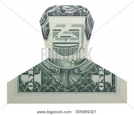 Money Origami Smiling Dude Man Face Folded With Real One Dollar Bill Isolated On White Background