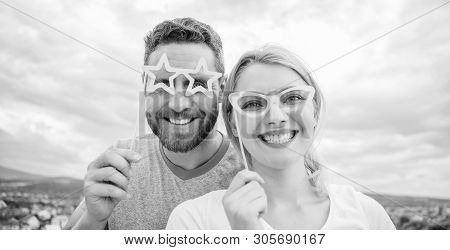 Perfect For Summer Party. Pretty Woman And Handsome Man Wear Fake Glasses Accessories. Funny Couple