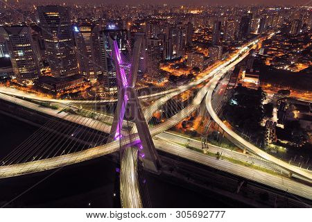 Estaiada Bridge Aerial View. Sao Paulo, Brazil. Business Center. Financial Center. Great Landscape.