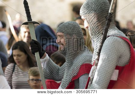Old Town, Rhodes, Greece - June 01, 2019: Annual Medieval Rose Festival. Christian Knights-hospitall