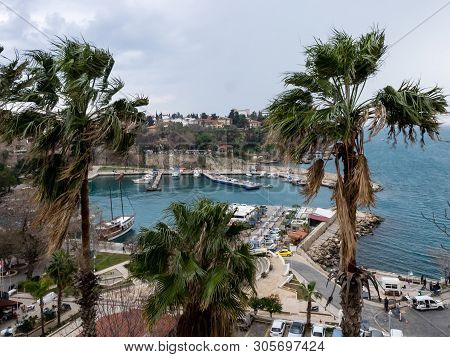 Antalya, Turkey - February 22, 2019: Yachts At The Pier In The Harbor In Old Town Kaleici In Antalya