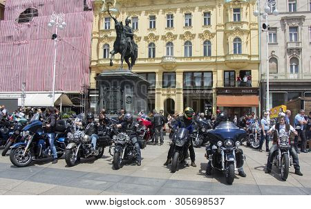 Zagreb, Croatia - June 01 Group Of Motorcycle Harley Davidson Fans On The Ban Jelacic Square, On Jun