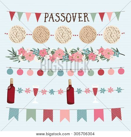 Set Of Hand Drawn Jewish Holiday Pesach, Passover Garlands With Lights, Party Bunting Flags. Hand Dr
