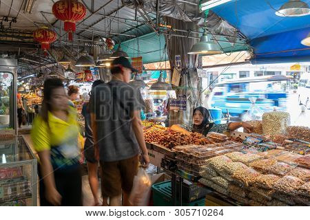 Hatyai, Songkhla, Thailad - Apr. 10, 2019 : Unidentified Tourists Are Shopping At Kim Yong Market Ha