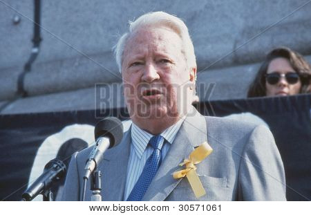 LONDON - APRIL 13: Edward Heath, former British Prime Minister, speaks at a rally in Trafalgar Square in support of Beirut hostage John McCarthy on April 13, 1991 in London, England. He died in July 2005.
