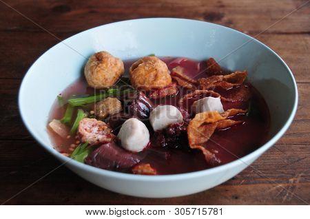 Yen Ta Fo Noodle (pink Noodle Soup) Yong Tau Foo (also Spelled Yong Tao Foo, Yong Tau Fu, Yong Tau H