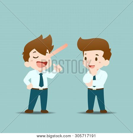 Businessmen Are Standing To Discuss Each Other By Lying, Chatting And Using Words To Seduce The Othe