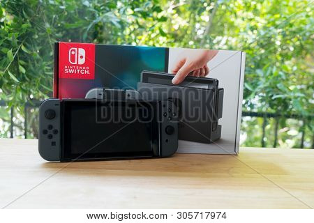 Bangkok, Thailand - June 10, 2019 : Nintendo Switch, The Video Game Console For Home Or Portable Gam