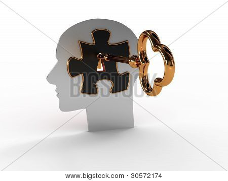 Head With A Puzzle And Key. 3D Image
