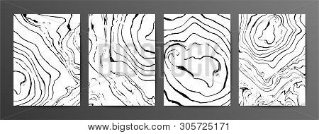 Monochrome Marbled Paper Vector Illustrations Set. Black And White Hand Drawn Backgrounds With Liqui