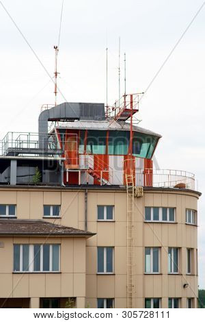 An Observation Tower And Tower For Air Traffic Controllers On A Disused Airport.