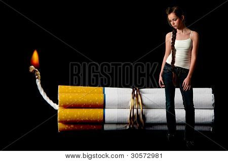 Teenage Woman And A Cigarette Bomb