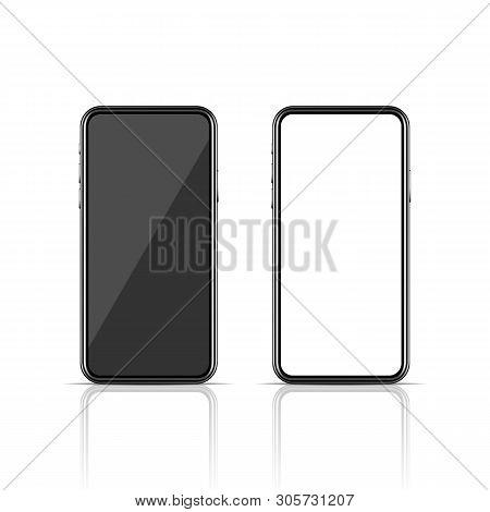 Realistic Modern Smartphone Mockup On White Background. New Model Of Communication Technology Device