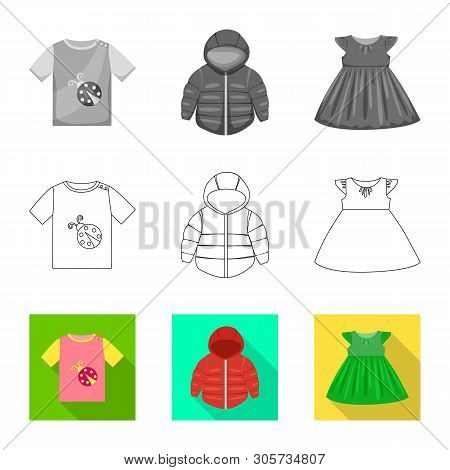 Vector Illustration Of Fashion And Garment Logo. Collection Of Fashion And Cotton Stock Vector Illus