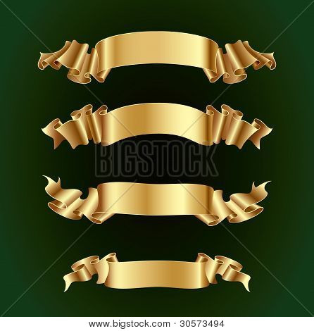 Gold ribbon banners set