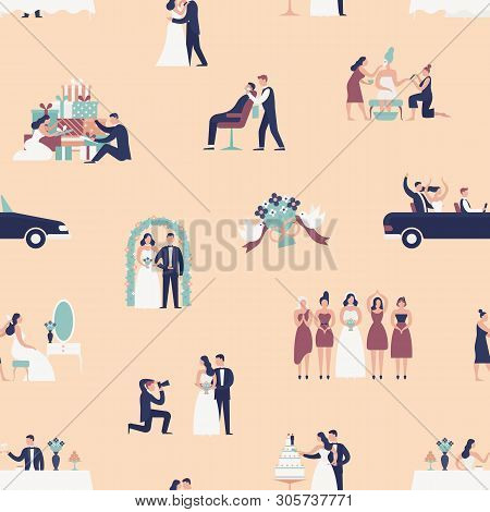 Seamless Pattern With Bride And Groom Preparing For Wedding Ceremony. Backdrop With Preparations For