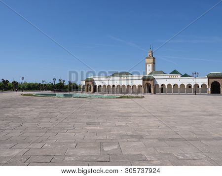 Ahl Fas Mosque At Square Near Royal Palace In Capital City Of Rabat In Morocco With Clear Blue Sky I