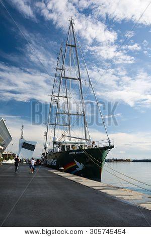 Burgas, Bulgaria - June 9, 2019: Greenpeace Rainbow Warrior Sailing Ship At The Port Of Burgas, Bulg