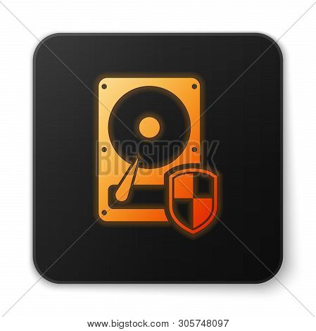 Orange glowing Hard disk drive HDD protection icon isolated on white background. Black square button. Vector Illustration poster