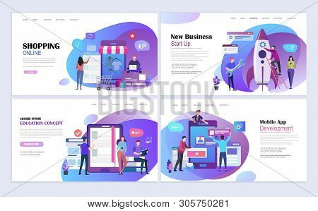 Landing Pages Template Set For Business Startup, Shopping, Education, Mobile App Development. Modern