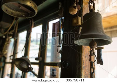 Bell In Coppersmith Workshop And Hand Made Copper Things, Lahich, Azerbaijan. Interior Of Coppersmit