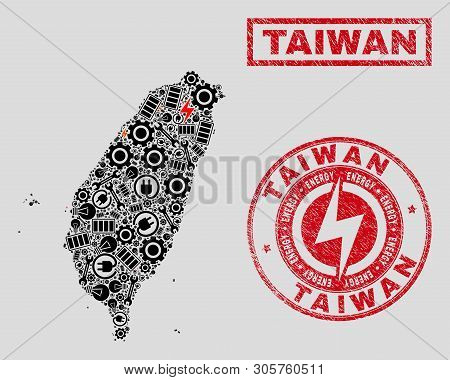 Composition Of Mosaic Power Supply Taiwan Map And Grunge Watermarks. Mosaic Vector Taiwan Map Is Cre