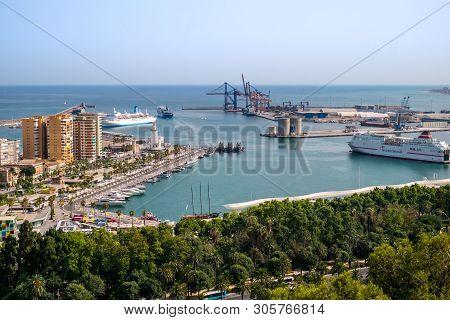 Malaga, Spain - June 24, 2018. Aerial View Of The Malaga Port, Costa Del Sol, Malaga Province, Andal
