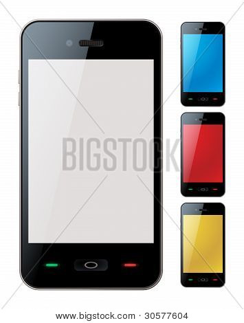 Smart Phone Set With Copyspace - Isolated Vector