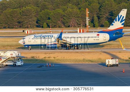 Antalya / Turkey - June 6, 2019: Boing 737-800 From Sunexpress Rolls Over The Airfield At Airport An