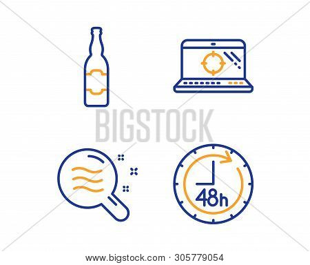 Skin Condition, Seo Laptop And Beer Bottle Icons Simple Set. 48 Hours Sign. Search Magnifier, Search
