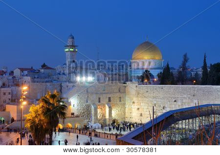 The Western Wall, is the remnant of the ancient wall that surrounded the Jewish Temple's courtyard in jerusalem, Israel. Dome of the Rock is a Muslim Shrine located on the Temple Mount. poster