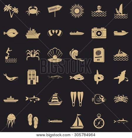 Ocean Bottom Icons Set. Simple Set Of 36 Ocean Bottom Vector Icons For Web For Any Design