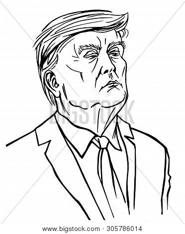Moscow, Russia - 06 10 2019: President Of The United States Donald Trump, Black And White Illustrati