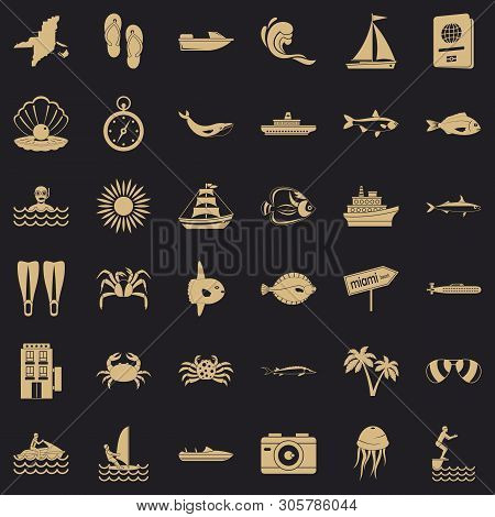 Oceanographic Icons Set. Simple Set Of 36 Oceanographic Vector Icons For Web For Any Design