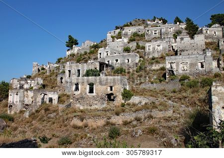 Ruined Hill Village In Turkey Which Has Been Unoccupied For Decades.
