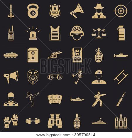 Police Officer Icons Set. Simple Set Of 36 Police Officer Vector Icons For Web For Any Design