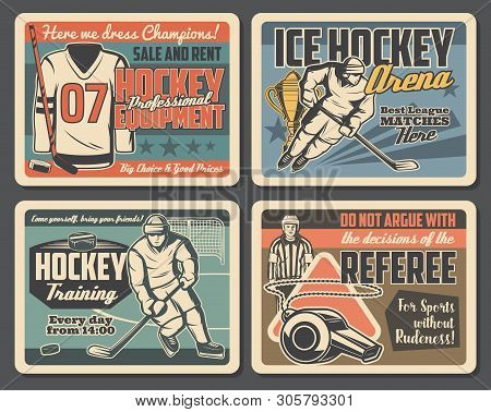 Ice Hockey Championship, League Match And Professional Sport Equipment Shop Vintage Posters. Vector