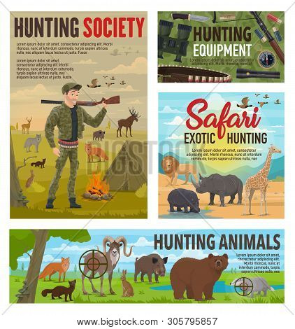 Wild Animals Hunting And African Safari Hunt, Hunter Ammo Equipment. Vector Hunter In Camouflage Wit
