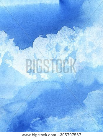 Abstract Watercolor Background. Cumulus Clouds In The Blue Sky On A Sunny Day. Hand-drawn Watercolor