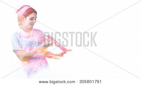 Double Exposure Portrait Of Two Beautiful Fashion Girls. Surgical,surgeons,male Doctor, Working With