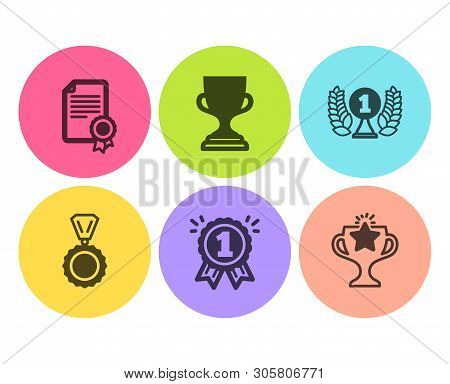 Laureate Award, Certificate And Reward Icons Simple Set. Award Cup, Medal And Victory Signs. Prize,